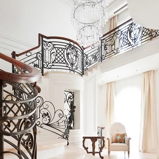 White Wrought Iron Staircase Ideas Photos Houzz   Wrought Iron Staircase Designs   Circular Staircase   Stair Grill Design   Railing Grand Staircase   Photo Flower Flower   Stairway