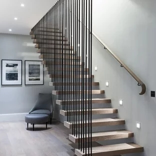 75 Beautiful Wood Stair Railing Pictures Ideas Houzz | Staircase Side Railing Designs | Stair Pattern | Simple | Residential | Italian | Entrance
