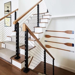 75 Beautiful Carpeted Staircase Pictures Ideas Houzz | Designer Carpet For Stairs | Stair Railing | Farmhouse | Classical Design | Style New York | Rectangular Cord Treads