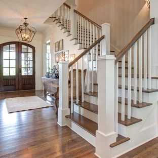 75 Beautiful Wood Stair Railing Pictures Ideas Houzz | Railing Of Stairs Design | Stainless | Wrought Iron | Ultra Modern Stair Grill | Stylish | Creative