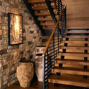75 Beautiful Rustic Staircase Pictures Ideas September 2020 | Rustic Wood Stair Treads | Indoor Stair | Wood Plank | Interior | Reclaimed Wood | Carpet