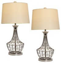 Tall Metal Cage Table Lamp, Set of 2
