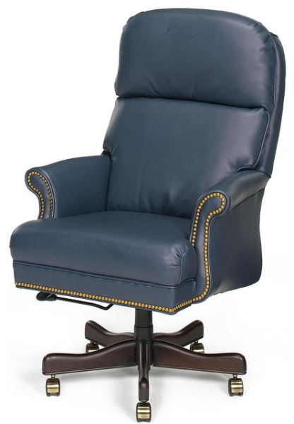 traditional leather office chair Chair Executive Wood Leather Removable - Traditional - Office Chairs - by EuroLuxHome