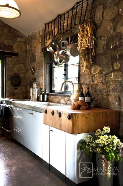 antique butcher block with concrete counters  Rustic