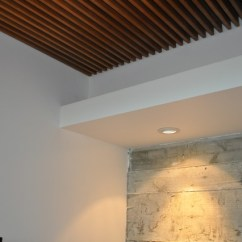 Living Room Dark Furniture Decorating Ideas Modern Designs Wood Grille Ceiling Concrete Wall Detail