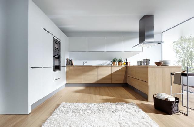 Light oak and matt white  Modern  Kitchen  London  by