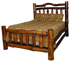 Rustic Pine Log Double Rail Queen Size Bed   Rustic ...