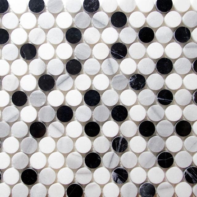 marble penny round mosaic tile sample black white