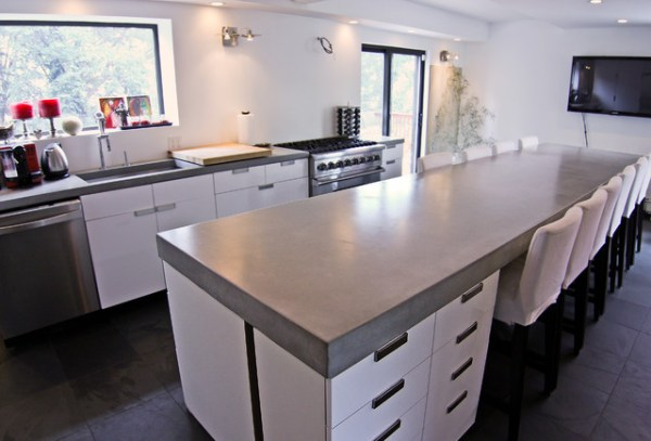 concrete kitchen countertops island Concrete kitchen tops and island - Modern - Kitchen
