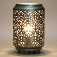 Modern Baroque Cylinder Punched Metal Accent Lamp ...