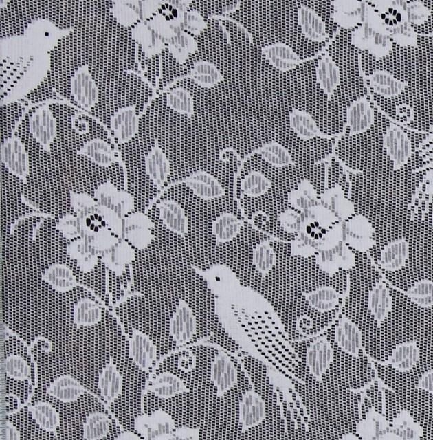 bird roses nottingham lace curtain fabric white standard cut