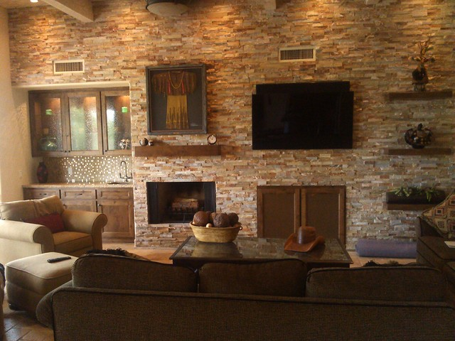 coffee themed kitchen rugs king cabinets floating shelves on stone wall - southwestern family ...