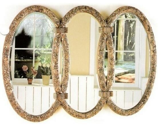 Antique Finish Bronze Triplet Mirror