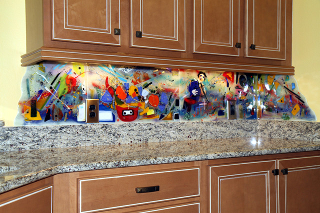 Contemporary Kitchen Backsplash and Murals  Eclectic