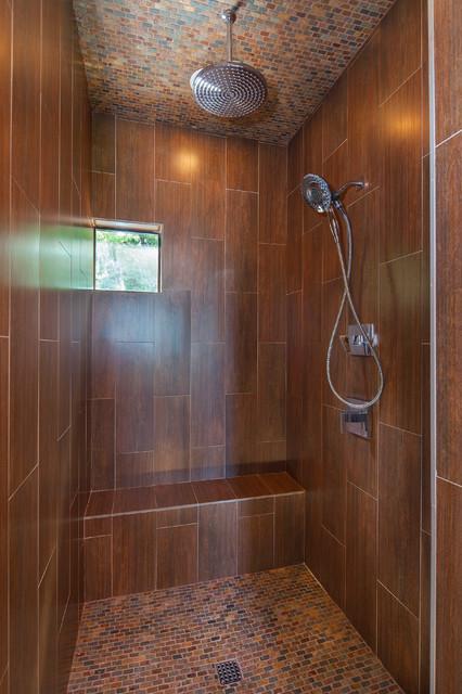 Master shower woodlook ceramic tile Lake Travis Waterfront Custom Home  Beach Style
