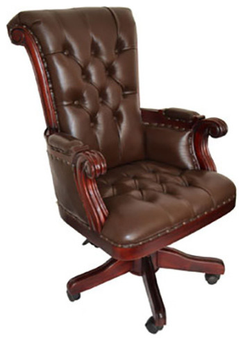 wooden leather desk chair meco folding chairs regal brown office with wood trim traditional by crafters and weavers