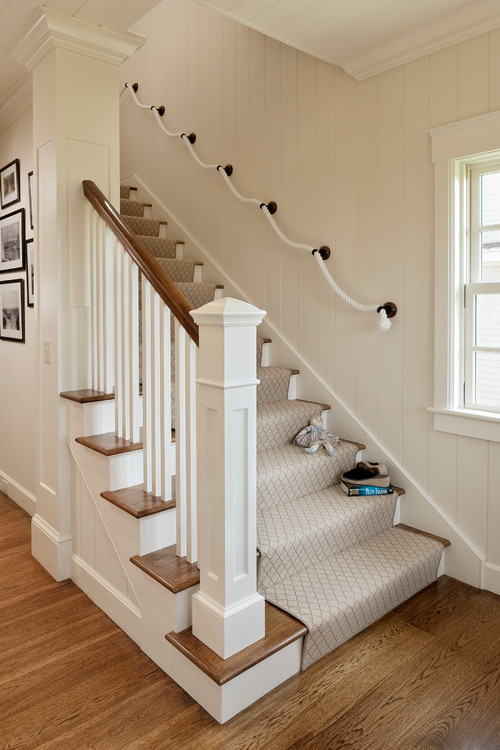 coastal style staircase design rope handrail