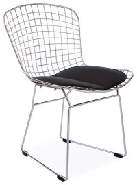 Wire Dining Chair, Black Seat Pad - Midcentury - Dining ...