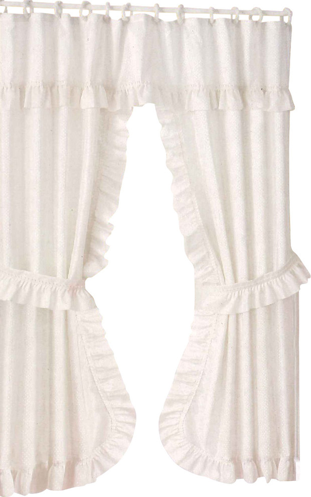 double swag fabric shower curtain vinyl liner and 12 rings white