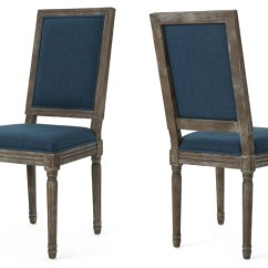 Navy Blue Dining Chairs Set Of 2 Wheelchair Automatic Margaret Traditional Fabric By Gdfstudio