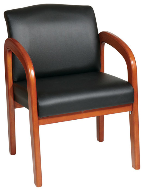 wood office chair recliner riser chairs for the elderly work smart oak finish visitor black contemporary by beyond stores