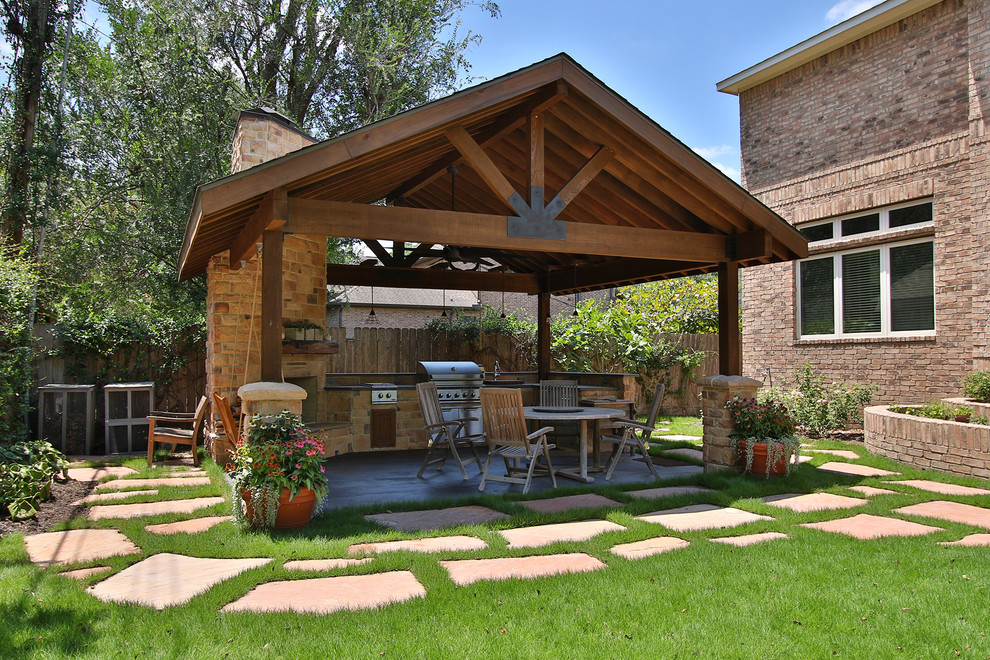 Braeswood Place Outdoor Covered Patio Sunroom And Balcony Rustic Patio Houston By Remodelers Of Houston