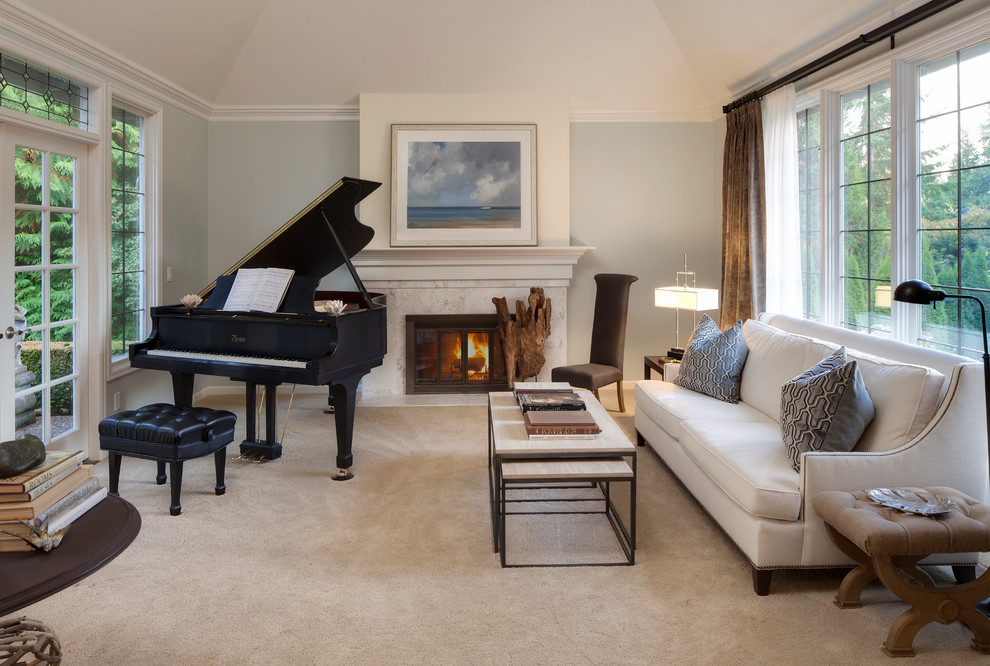 English Hill Music Room Traditional Living Room Seattle By Interiors