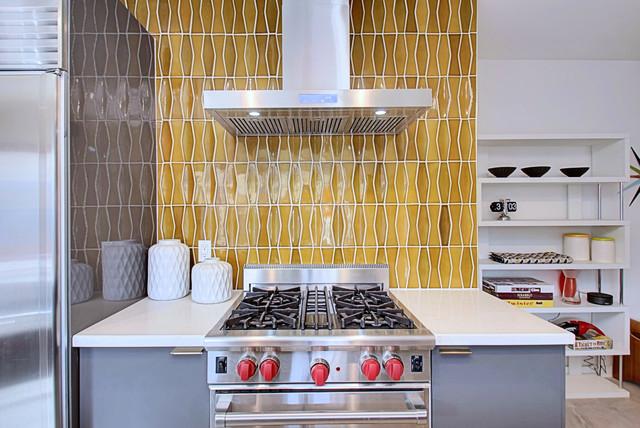 3 Palms - Kitchen Featuring Heath Tile midcentury-kitchen