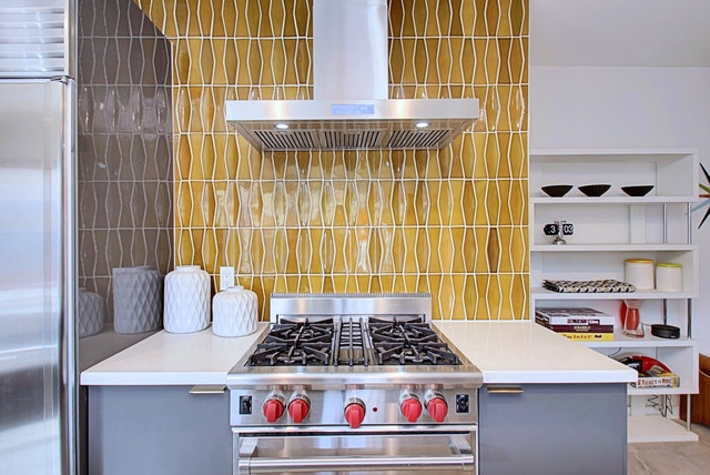 3 Palms - Kitchen Featuring Heath Tile midcentury-kitchen