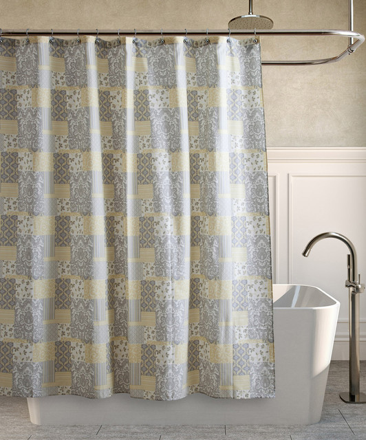 Yellow And Grey Shower Curtain