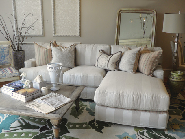 custom sectional sofas los angeles ashley furniture leather sofa review striped slipcovered chaise - beach style ...
