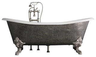 "The Bridlington 73"" Long Cast Iron French Bateau Tub With Drain"