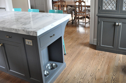 Pet food bowls in kitchen island