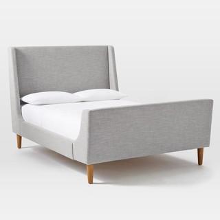 Upholstered Sleigh Bed Set, Platinum Linen Weave