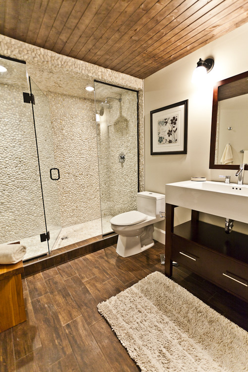 bathroom with faux wood porcelain tiles