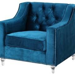 Navy Blue Velvet Club Chair Game Best Buy Dylan Button Tufted, Silver Nail Trim Acrylic Feet - Transitional Armchairs ...