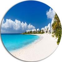 Caribbean Beach Panorama, Landscape Photo Round Wall Art ...