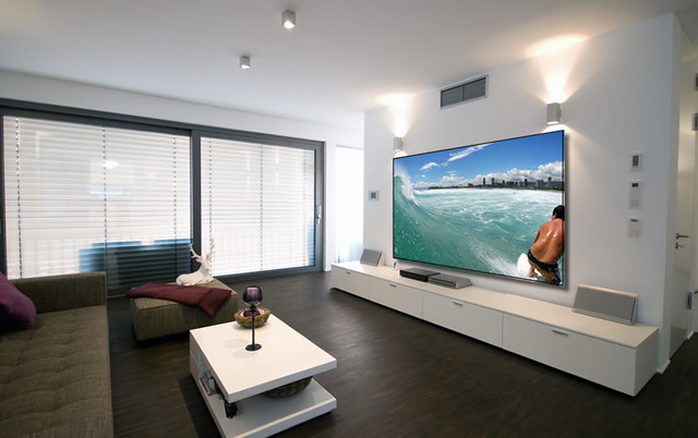 Projector Screens, Mirror TV's & Creative TV Mounts - Modern - Home Theater - Miami - by Control Your Life, Inc.