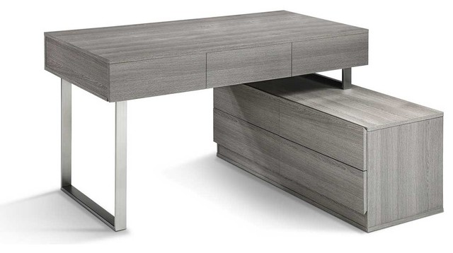 Kd12 Modern Office Desk In Matte Grey Finish Modern Desks And Hutches By Bedtimenyc