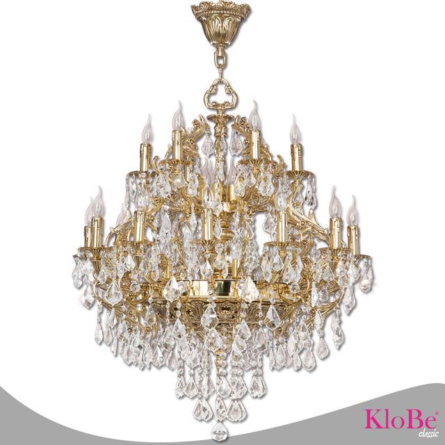Klobe Paris 30 Light Brass Chandelier Bright Patina Chandeliers