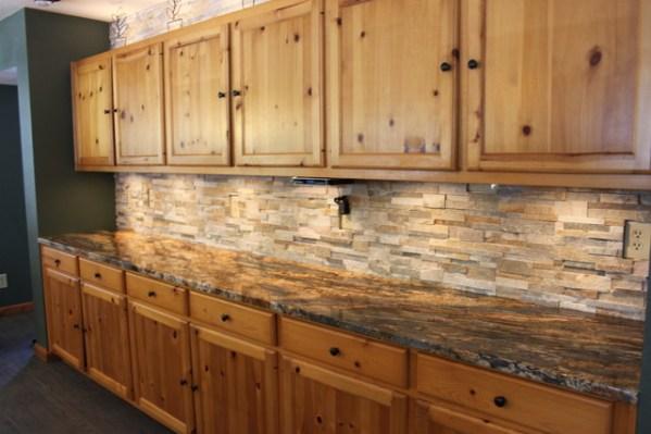 rustic kitchen with stone backsplash Kitchen Backsplashes | Tile, Stone & Glass - Rustic