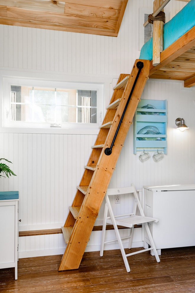 Beach Tiny House Loft Ladder Beach Style Portland By Tiny Digs | Small House Ladder Design | Low Cost | Small Residence | Middle Class Duplex House | Small Living Room Stair | Simple