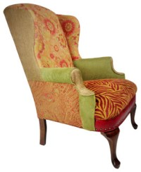 Salmagundi Colorful Wing Back Leather Chair