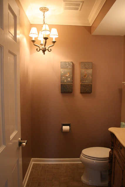 halfbath with chandelier  Traditional  Powder Room