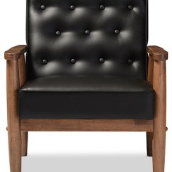 Wooden Lounge Chair Velvet Stool Sorrento Retro Upholstered Midcentury Black Faux Leather