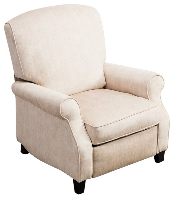 push back chair faux leather dining bonzy recliner with roll arm tight cushion cream transitional chairs by appearances international