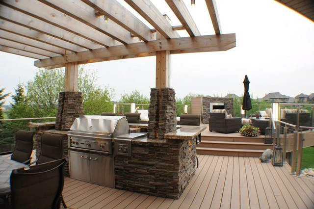 Upper Level Pergola And Built In BBQ With Island Modern