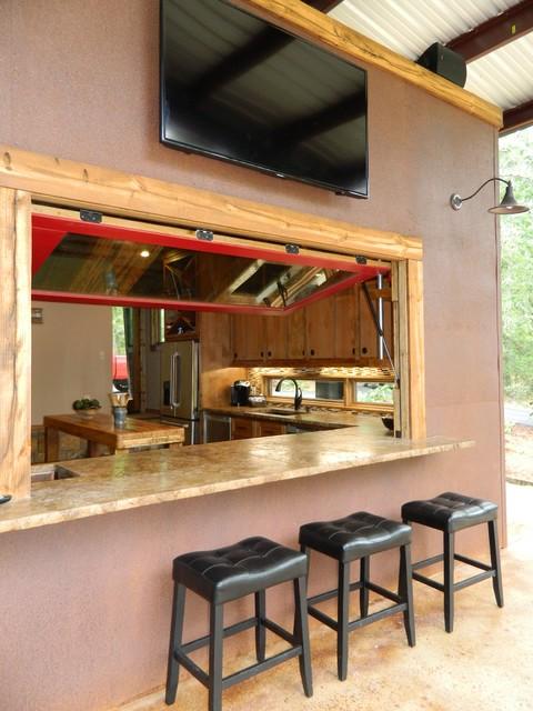 IndoorOutdoor Bar  Rustic  Patio  Dallas  by WrightBuilt