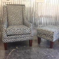 Navy leopard print chair & ottoman.