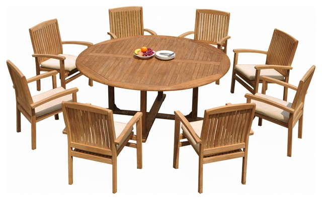 9 piece outdoor teak dining set 72 round table 8 wave stacking arm chairs